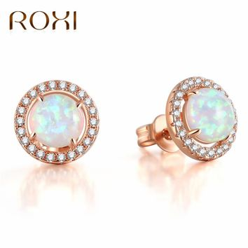 ROXI Mystic Round White Fire Opal Earrings For Women Rose Gold C 5393916e3a
