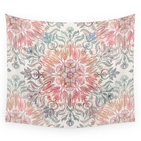 Society6 Autumn Spice Mandala In Coral Cream And Wall Tapestry