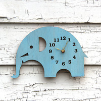 Elephant Wall Clock Modern Home Decor with Sky Blue Finish