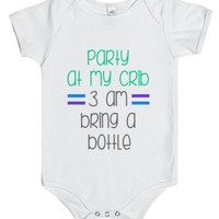 Party At My Crib 3 Am Bring A Bottle-Unisex White Baby Onesuit 00