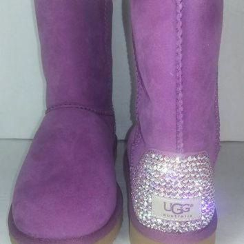 ICIK8X2 Bailey Bow UGGs, Custom Bailey Bow Uggs, Pink Bailey Bow Uggs, Swarovski Uggs, Crystal