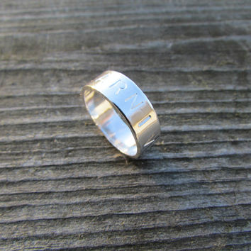 Silver Band Ring, Wide Thumb Ring, Sterling Silver Band Ring, Satin Finish Silver Band, Personalized Ring