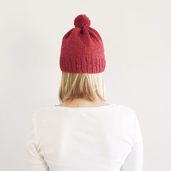 Red Knit Hat with Pom Pom, Fall Winter hat, Natural Neutral hat, Rustic Warm Hand Knit Hat, Bobble hat, Made by VeraJayne, Ready to Ship