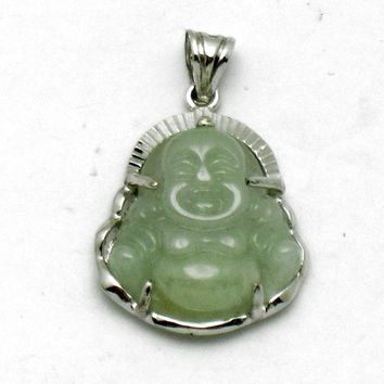 Vintage Hallmarked Carved Jade S925 Sterling Silver Buddha Pendant