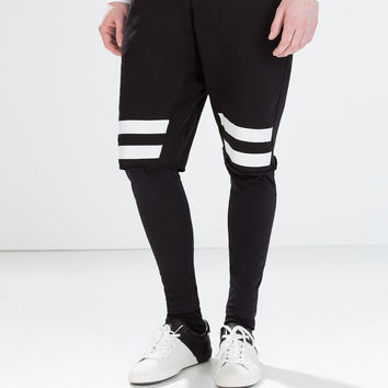 STRIPED SHORTS WITH LEGGINGS