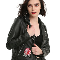Black Faux Leather Rose Embroidered Girls Jacket