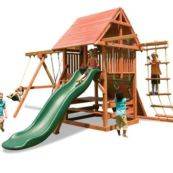 Playnation Opening Star Wooden Swing Set