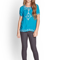 FOREVER 21 GIRLS Embroidered Gauze Top (Kids)