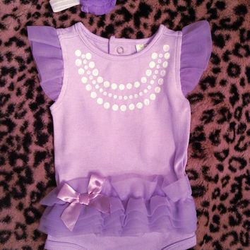 Cute baby girl gift purple set Necklace Onesuitwhite by afalasca