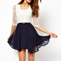 Casual Womens Summer Chiffon Dress with Lace Insert