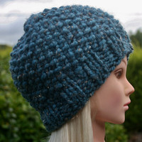 Hand Knit hat- Women's hat- Teal tweed Beanie hat- winter hat- Rustic Mega Chunky with wool- women accessories