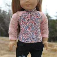 18 inch doll clothes, peach lace sleeve, floral baseball tee, dark wash ripped skinny jeans, american girl ,maplelea