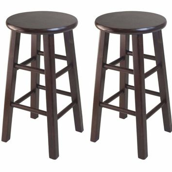 "Pacey 2-Pc 24"" Bar Stool Set Antique Walnut by Winsome Woods"