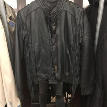 Harley Davison's Leather Women's Fringe Motorcycle Jacket