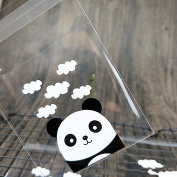 100 pcs/set Cute Panda and chicks Self-adhesive Plastic Cookie Bags Transparent Wedding Candy Bag Christmas Biscuits Packaging