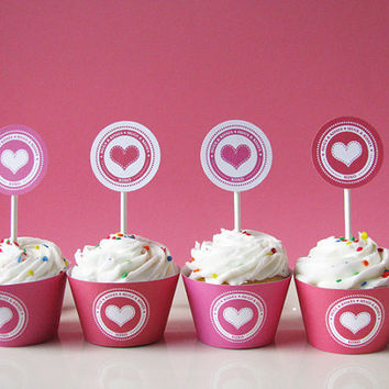 Valentine cupcake wrapper and topper printable by EllisonReed