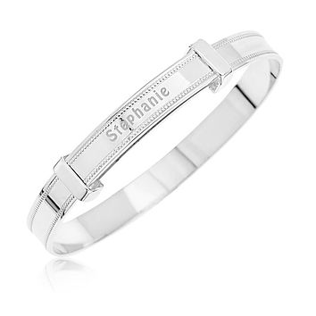 Baby's Bangles Personalized With Name and Expandable - STERLING SILVER