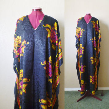 vintage floral CAFTAN black/golden yellow. mumu dress. maxi dress. bohemian dress