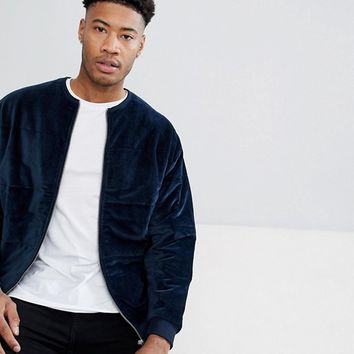 ASOS TALL Bomber Jacket In Quilted Puffer Velour at asos.com