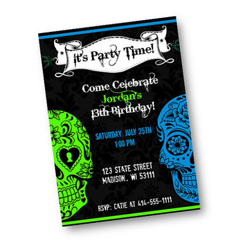Halloween Invitation Birthday Sugar skull Invite Sugar Skulls Birthday Day of the Dead Tattoo Printable Download 21st birthday