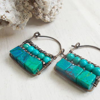 Blue chrysocolla & turquoise rectangular hoop earrings, pyrite glass seed beads, mosaic wire wrapped jewelry, square beads, hammered brass