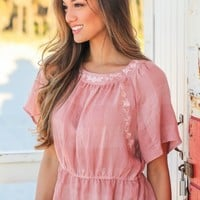 Blush Embroidered Top