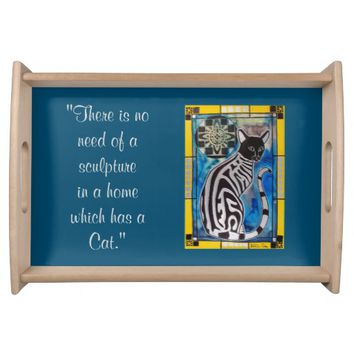 Cat Quote with Tabby and Mandala Serving Tray