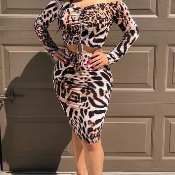 New Leopard Print Drawstring Off Shoulder Two Piece Bodycon Long Sleeve Party Midi Dress