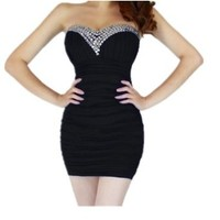 Women's Bling Rhinestone Beaded Short Prom Tunic Gown Strapless Cocktail Clubwear Party Evening Dress - black