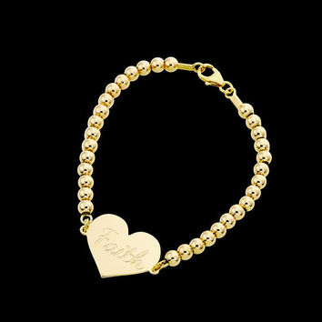 Gold Name Bracelet - Personalized Bracelet - Heart Bracelet - Custom Bracelet - Personalize Jewelry - Personalized Gift - Engraved Bracelet
