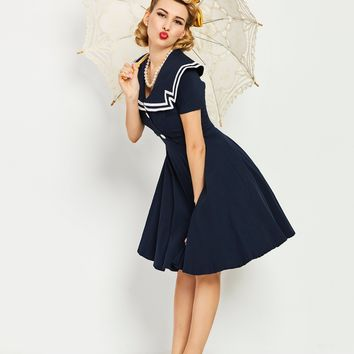 Chicloth Dark Blue Sailor Collar Botton Vintage Dress