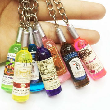 Alcohol Bottle Car Keychain or Cellphone Pendant