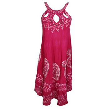 Mogul Womens Tie Dye Batik Embroidered Tank Dress Sleeveless Summer Fashion Flared Sexy Pink Boho Style Sundress - Walmart.com