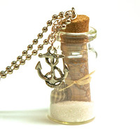 Nautical Bottle Necklace- Glass Bottle with Old World Map, Anchor Charm, Sand and Shells