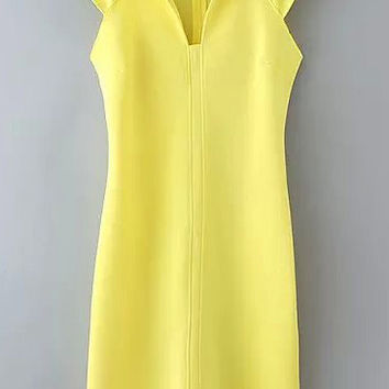 Yellow Cap Sleeve V-Neckline Mini Shift Dress