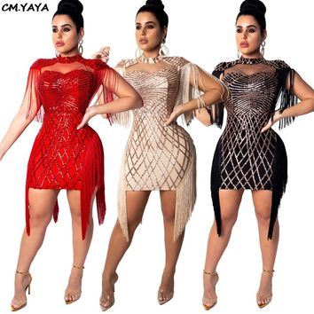 Women new sequins tassel sleeve side cutout stand neck sexy midi mini dress bodycon bandage club party dresses vestidos CY8033