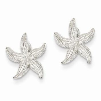 14k White Gold Polished Textured Starfish Post Earrings