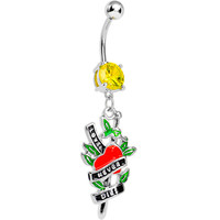 Yellow Gem Love Never Dies Tattoo Charm Dangle Belly Ring | Body Candy Body Jewelry