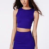 Missguided - Polly Ribbed Two Piece Bodycon Dress Cobalt Blue