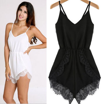 2016 Summer Style Sexy Women Black&White Playsuits Strap Sleeveless Lace Chiffon Party Jumpsuit Rompers Playsuit #85