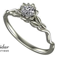 Flower Engagement Ring,Unique Ring,Lab Created diamond,Engagement Ring,Leaves,Lotus,Solitaire Engagement Ring,floral,swirl,14kt White gold