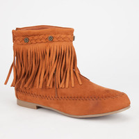 Wild Diva Low Fringe Womens Boots Cognac  In Sizes
