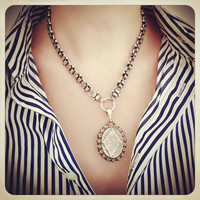 Vintage Victorian Silver Book Chain And Locket Necklace