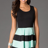 Short Sleeveless Dress with Striped Skirt