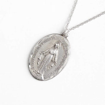 Vintage Sterling Silver Mother Mary Miraculous Medal Necklace - Religious Double Sided Oval Repousse Pendant Jewelry Charm on 18 Inch Chain