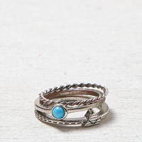 AEO Women's Turquoise & Triangle Midi Ring (Silver)