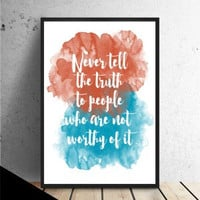 Typography quote print, colorful watercolor poster, quote poster, quote wall art (C138)
