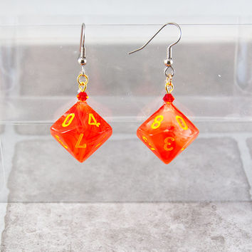 Ghostly Glow Orange Dice Earrings - Tabletop Gaming Jewelry with Crystal Accents