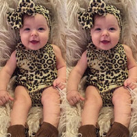 2016 Newborn Kids Baby Girls Infant Clothes 2 Pcs Leopard Strip Romper+Hairband Jumpsuit Clothes Outfit