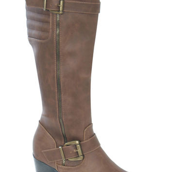 Danica Buckle Detail Knee High Boots in Brown
